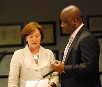 AATA board member Sue Gott and CEO Michael Ford talked before the start of the May 16, 2013 meeting.