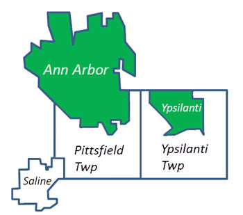 The geographic footprint of the Ann Arbor Area Transportation Authority is shown in green: the two cities of Ypsilanti and Ann Arbor. The city of Saline and the townships of Pittsfield and Ypsilanti have also been a part of active discussions about commiting to a more stable funding mechanism for existing service and expanded service.