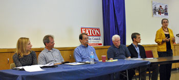 From left: Julie Grand (Ward 3 challenger), Stephen Kunselman (Ward 3 incumbent), Jack Eaton (Ward 3 challenger), Mike Anglin (Ward 5 incumbent), Kirk Westphal (Ward 2 challenger), Sabra Briere (Ward 1 incumbent).