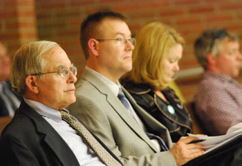 From left: AATA outside legal counsel Jerry Lax and AATA staff members Bill DeGroot and Mary Stasiak.