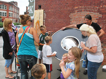 A phonograph made by Michael Flynn was showcased at the Chelsea Sounds and Sights Festival.