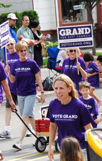 Julie Grand with supporters at the 4th of July parade.
