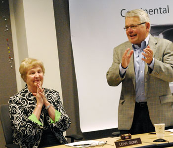 Bob Guenzel led the standing ovation given to Leah Gunn on concluding her DDA board service.