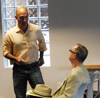 Ann Arbor public art commissioners Bob Miller (standing) and John Kotarski