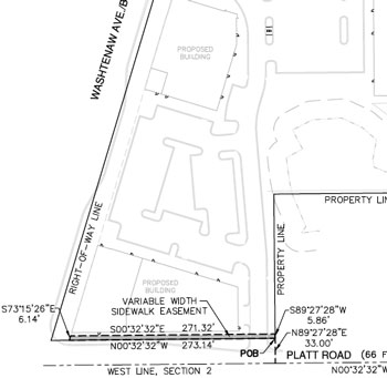 Drawing showing the location of the planned sidewalk along Platt Road for which the city council is being asked to accept an easement.