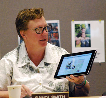 Sandi Smith was elected by her colleagues a chair of the Ann Arbor Downtown Development Authority board at its July 3, 2013 annual meeting. Here she's showing off the DDAs new website with her tablet.