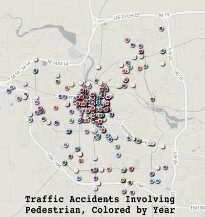 Traffic Accidents Involving a Pedestrian Colored by Year (Data from the MichiganCrashFacts.org, mapped by The Chronicle using geocommons.com)