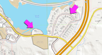 Map of land on E. Huron River Drive to be rezoned as PL (public land).