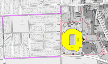 UM football game day street closures.