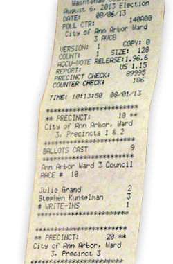 Test tape from the test of electronic tabulation equipment, showing absent voter totals broken down by precinct.