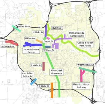 Map identifying geographic areas for improvements for pedestrians and bicyclists, as noted in the 2013 non-motorized transportation plan update.