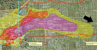 Map by of Pall-Gelman 1,4-dioxane plume. Map by Washtenaw County. Black arrow added to indicate baseball field at West Park.