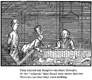 The December 1878 UM student-produced magazine the Palladium included a comic strip satirizing Herdman and his helper Naegle. The strip references a 1878 incident in which the body of one Augustus Devins, buried in Ohio, mysteriously surfaced in the basement of the medical school. The two gentlemen at left are out-of-state officials seeking the corpse of Devin.