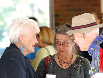 From left: former Ann Arbor city councilmember Eunice Burns, current councilmember Sabra Briere (Ward 1) and  a longtime Ann Arbor Democratic activist Doug Kelley.