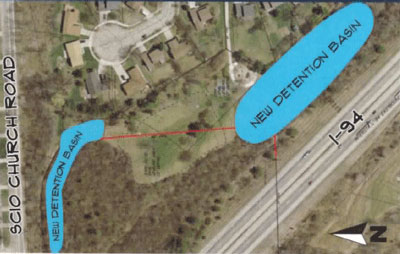 Proposed Eisenhower Park detention ponds. Cost estimate: $2.1 million. Surface area: 2.5 acres. Total volume: 470,000 cubic feet.