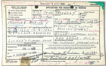 Marion Frierson's widow Annie sent this form in 1960 to request a grave marker for her husband