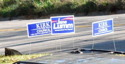 Signs for both Ward 2 Ann Arbor city council candidates were placed at the entrance to the Ann Arbor Community Center on North Main Street where the Ann Arbor Democratic Party held its meeting.