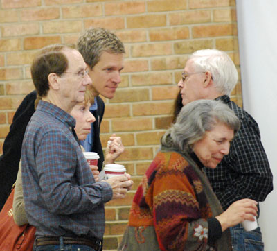 From left foreground:  Mike Allemang, former Washtenaw County water resources commissioner Janis Bobrin, Ward 2 Democratic nominee Kirk Westphal, Ann Arbor Democratic Party officer David Cahill, and former state representative Alma Wheeler Smith