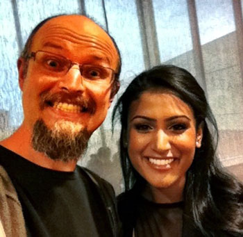 David Erik Nelson and  Nina Davuluri (Miss America 2014)