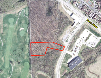 Land to be donated by Bill Martin to the city of Ann Arbor indicated in red outline.