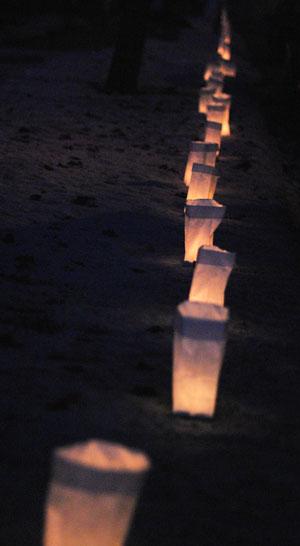 Line of luminaries on Main Street, Manchester, Michigan