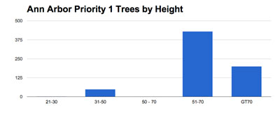 Trees by height