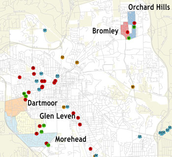 Five target areas with majority of basement backups citywide.