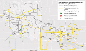 Yellow lines indicate routes along which the AAATA is planning frequency improvements as a part of its five-year transit improvement plan.