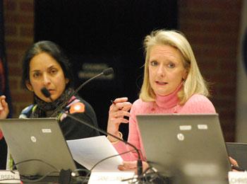 From right: Sally Petersen (Ward 2), Sumi Kailasapathy (Ward 1)