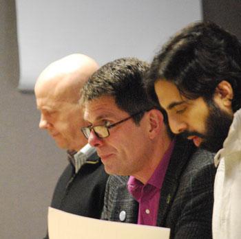 City administrator Steve Powers sat between John Splitt and Rishi Narayan.