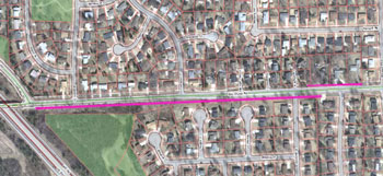 Purple indicates stretches of Scio Church Road where no sidewalk exists.