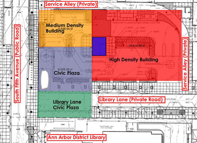 City staff diagram illustrating the building program for the top of the underground Library Lane parking structure.