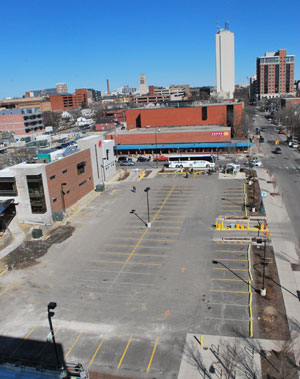 View to the east from Fourth & William parking structure, overlooking the Old Y lot on March 30, 2014. The lot had been closed off to any vehicle access.