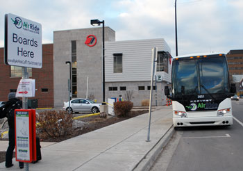 Looking north on Fifth Avenue at the AirRide stop, just south of the newly opened Blake Transit Center.