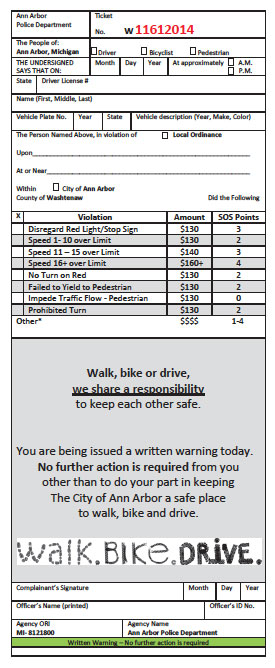 Educational pamphlet handed out as warnings as a part of traffic enforcement in Ann Arbor. In their format they resemble a ticket