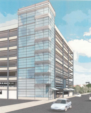 Image from preliminary drawings by the Carl Walker design team for renovated elevator and stair tower for the Fourth & William parking structure.