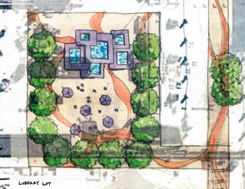 Sketch of possible park/plaza on the surface of Library Lane parking structure.