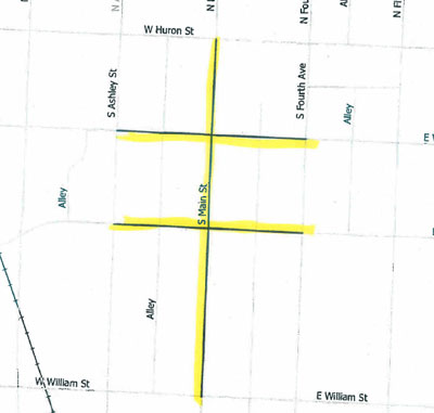 Map of street closings for Mayor's Green Fair.