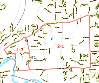 Map of Precincts 1-7 and 2-1.