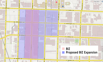 Main Street BIZ geographic area and expansion.