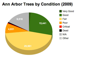 Ann Arbor trees in public right of way by their condition. Chart by The Chronicle with data from 2009 city of Ann Arbor inventory.