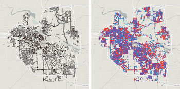 Left: Stumps (black) and vacant sites (gray). Right: Maples (purple), Crabapples (red) and oaks (blue).  Maps by The Chronicle from the city's 2009 tree inventory.