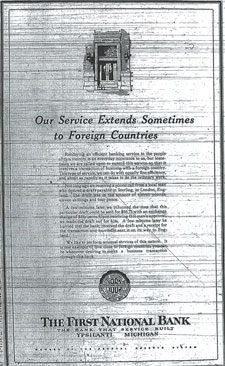Ypsilanti's First National Bank took out a triumphant quarter-page ad when they processed a single transaction with an exotic 'foreign country'. June 9, 1931 Ypsilanti Daily Press.