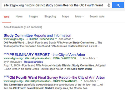 "Screenshot of search results from ""site:a2gov.org historic district study committee for the Old Fourth Ward"""