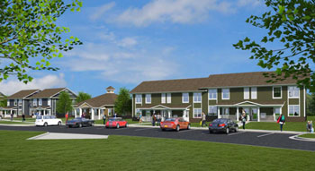 Rendering of North Maple Ann Arbor Housing Commission property after renovation.