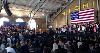 April 2, 2014 IM building on the University of Michigan campus: U.S. President Barack Obama addressed the assembly.