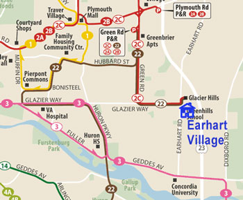 Route map is the current route configuration of AAATA fixed route buses from the AAATA route map. Label and icon for Earhart Village added by The Chronicle.