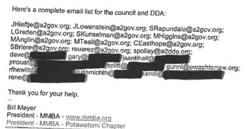 Image of redactions made for email addresses of DDA board members on the grounds that to disclose them would be a clearly unwarranted invasion of privacy.