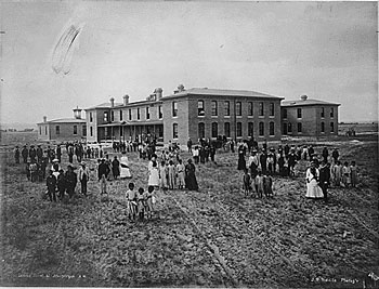 "Emma's school in Albuquerque as it appeared shortly after she died there."" (public domain photo)"