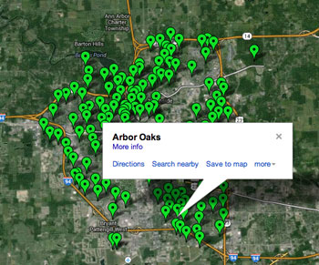 Arbor Oaks Park is located in Ward 3 in the southeast quadrant of the city. Image links to interactive map by the city of Ann Arbor.